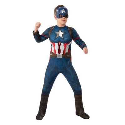 Kids' Marvel Captain America Halloween Costume Muscle Jumpsuit with Mask