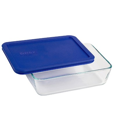 Pyrex 6 Cup Rectangle Glass Storage Container Blue