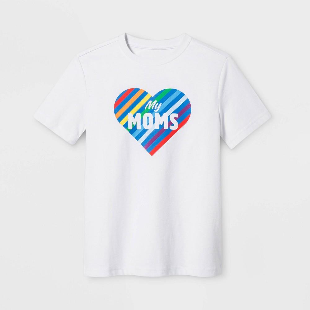 Image of petitePride Kids Short Sleeve Love My Moms T-Shirt - Eco White XL, Boy's