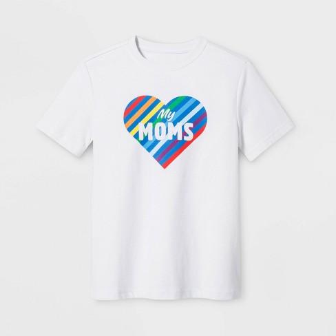 Pride Kids Short Sleeve Love My Moms T-Shirt - Eco White