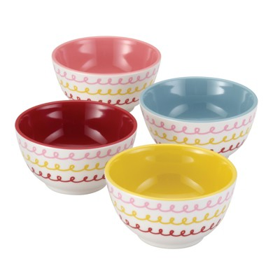 Cake Boss 4 Piece Countertop Accessories Melamine Prep Bowl Set-Icing Pattern
