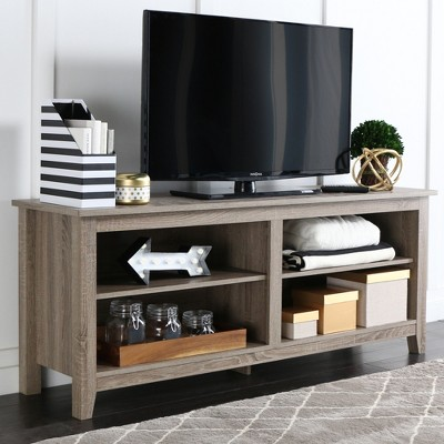 58  Wood TV Media Stand Storage Console - Driftwood - Saracina Home