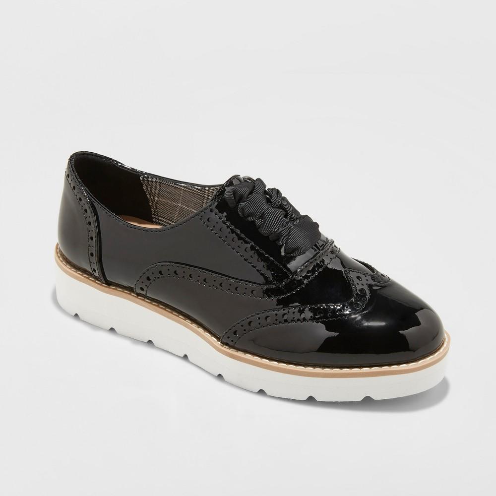 Women's Desarai Patent Oxford Loafers - A New Day Black 6.5