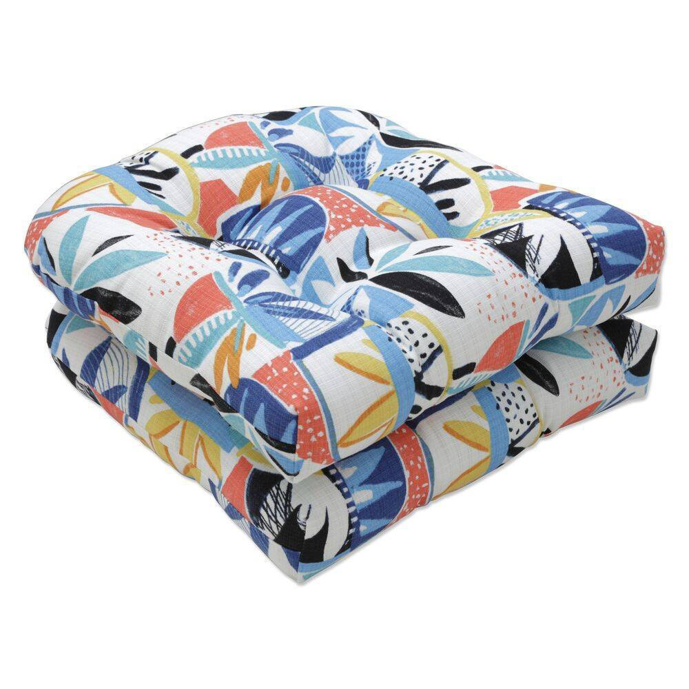 2pc Outdoor Indoor Seat Cushion Set Upbeat Disco Blue Pillow Perfect