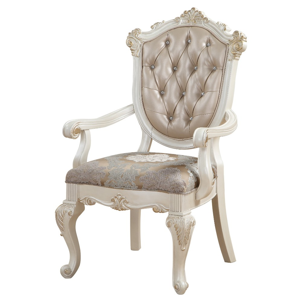 Chantelle Arm Dining Chair (Set of 2) - Pearl White and Rose Gold - Acme