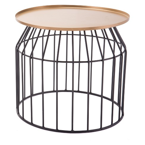 "18"" Steel Accent Table - Gold & Black - ZM Home - image 1 of 1"