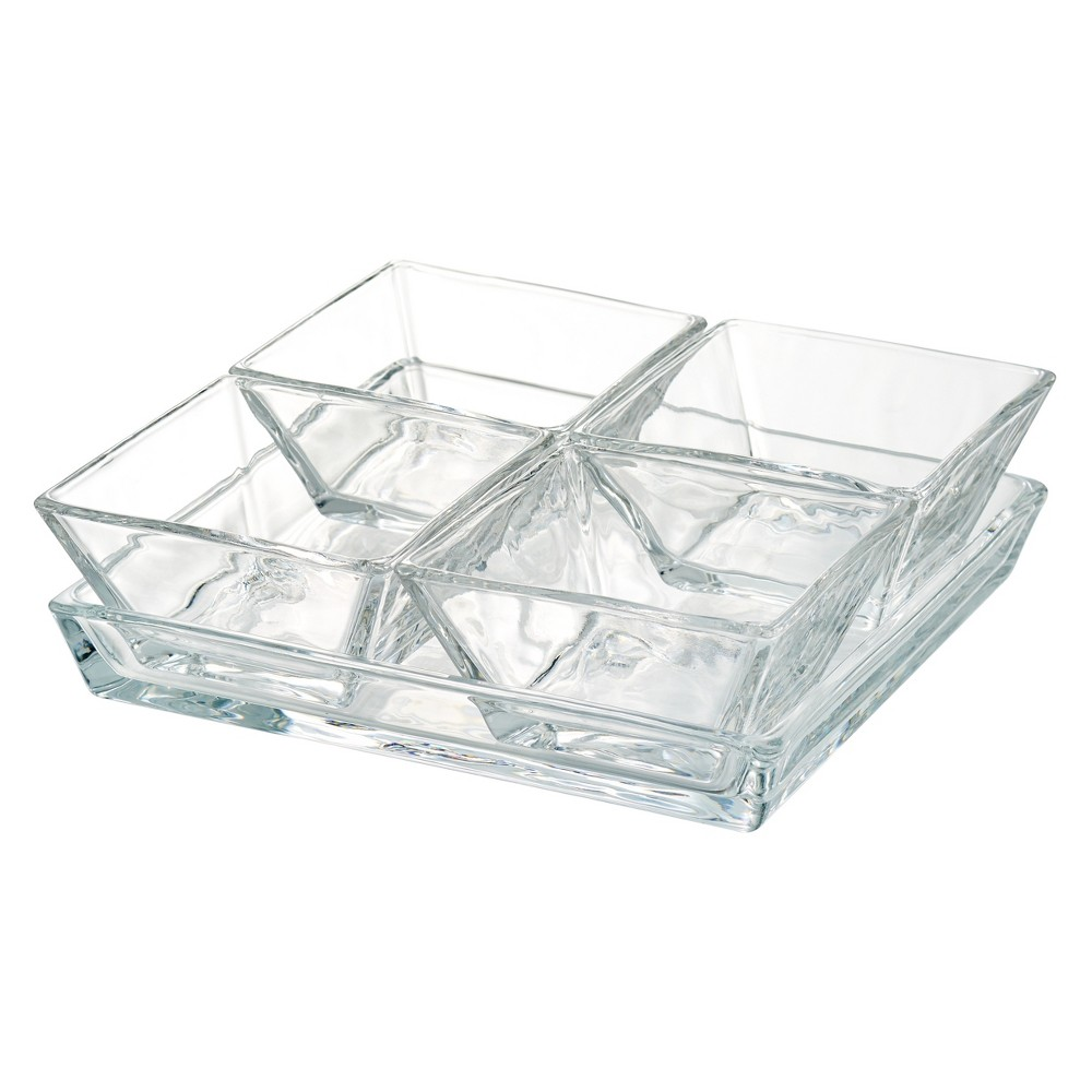 Image of Artland Courtland 5pc Glass Serving Tray, Clear