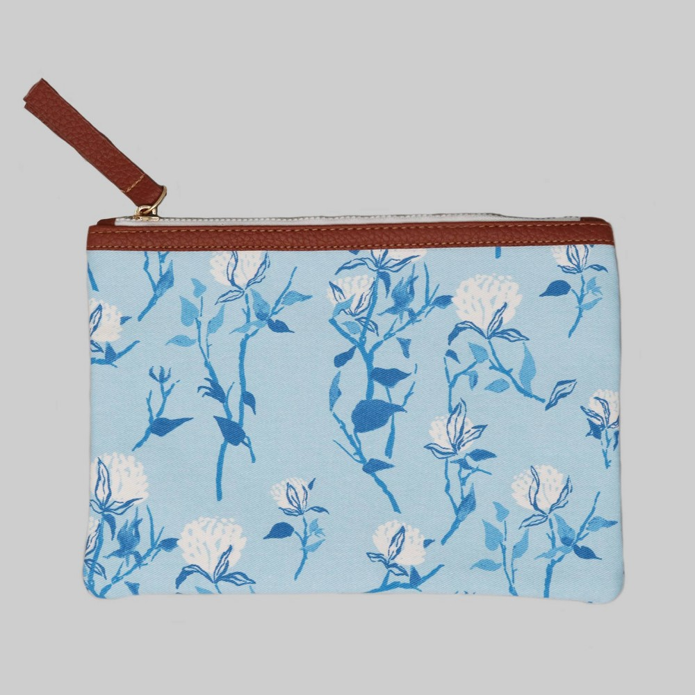 "Image of ""6"""" x 8"""" Zip Linen Pouch - Blue Floral - Threshold"""