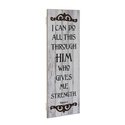 "23"" x 8"" Decorative Philippians 4:13 Wooden Wall Art Worn White - Stonebriar Collection"
