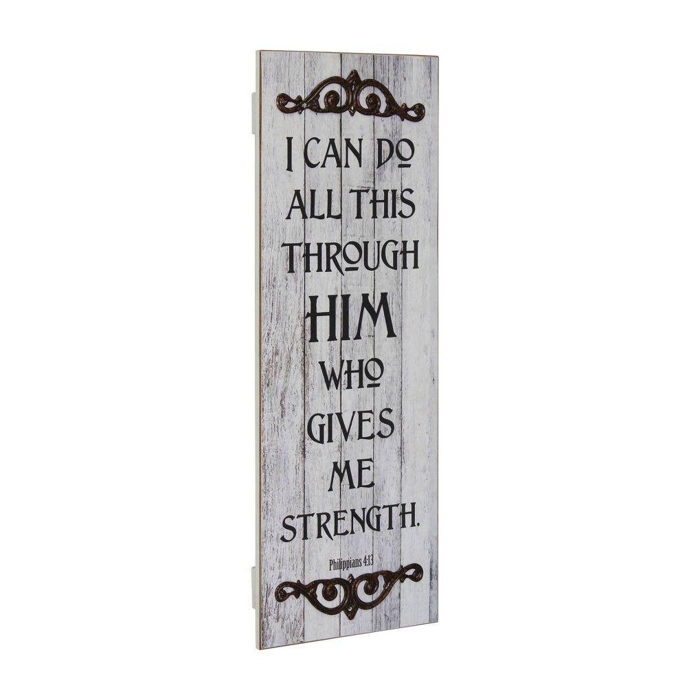 Image of Rustic Decorative Painted Philippians Wall Art Gray - Stonebriar Collection