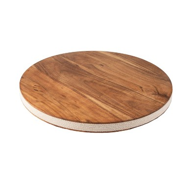 """12"""" Acacia Wood Lazy Susan with Jute Side - Thirstystone"""