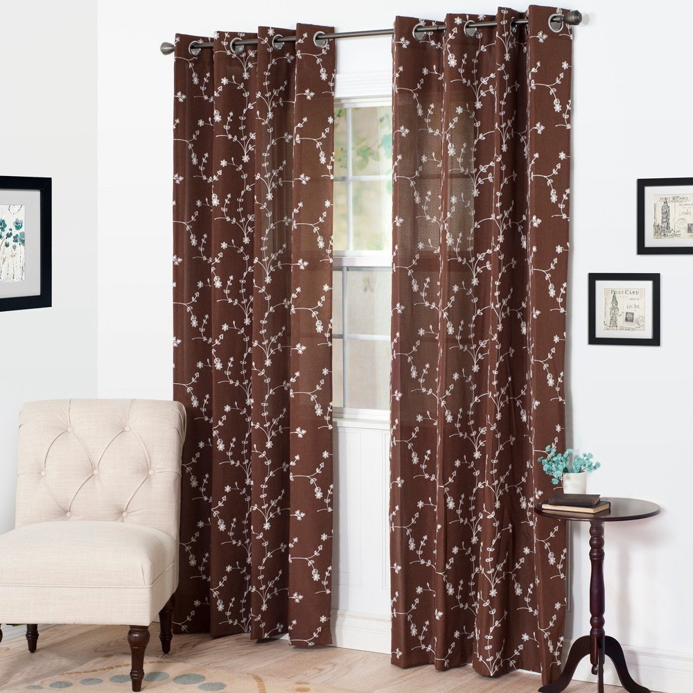 Yorkshire Home Inas Embroidered Curtain Panel - 108 - Chocolate, Brown