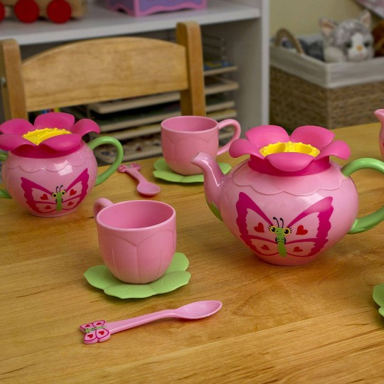Melissa & Doug Sunny Patch Bella Butterfly Tea Set (17pc) - Play Food Accessories image number null