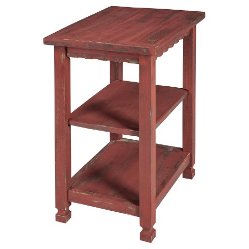 Rustic Cottage 2 Shelf End Table Antique Finish Alaterre