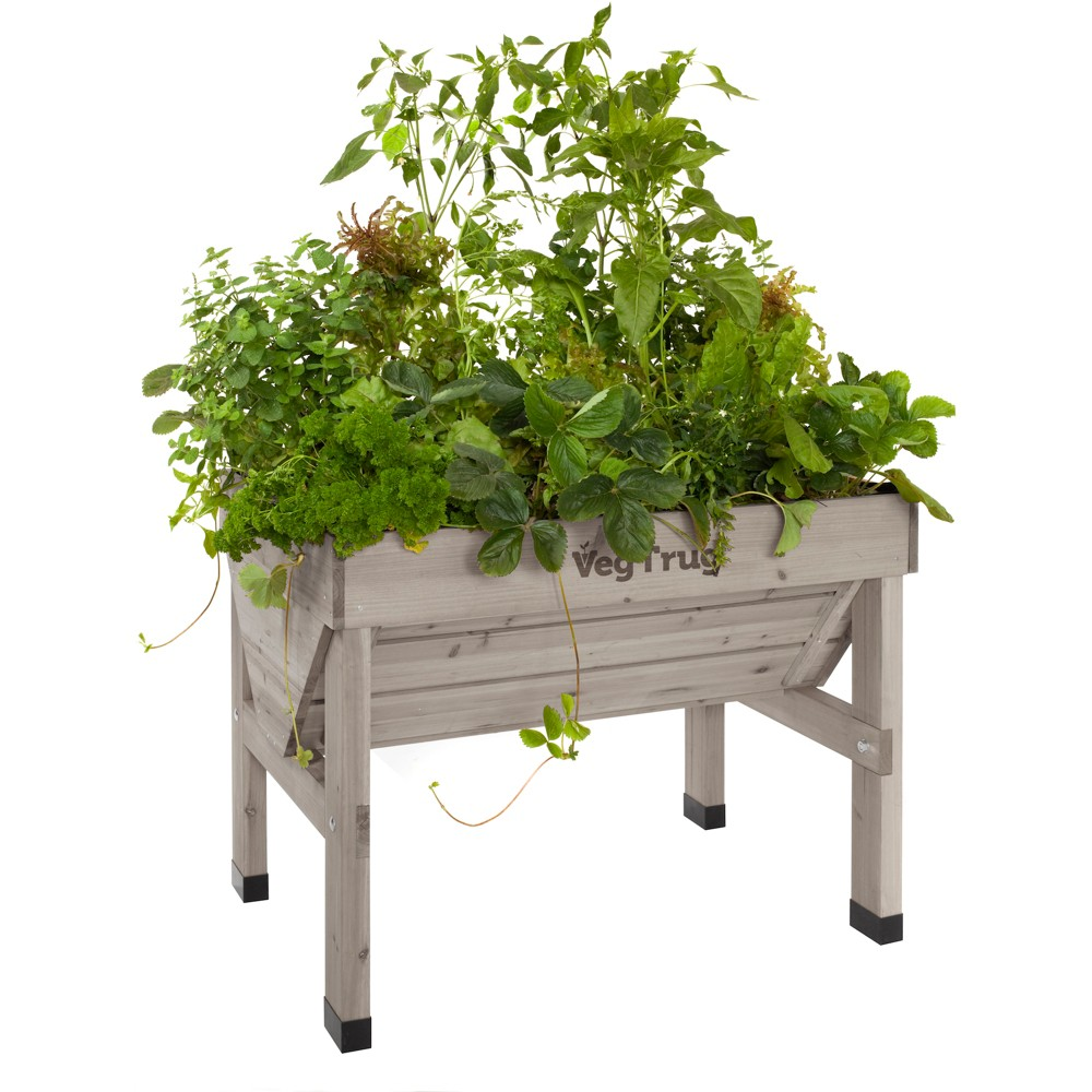 32H Rectangular Wood Planter - Gray - VegTrug