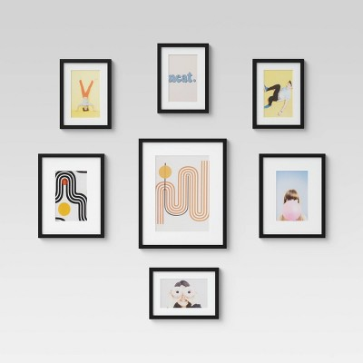 Set of 7 Gallery Frame Set Black - Room Essentials™