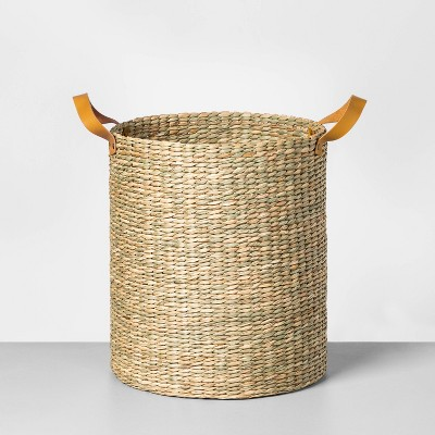 Tall Seagrass Basket with Leather Handle Large - Hearth & Hand™ with Magnolia