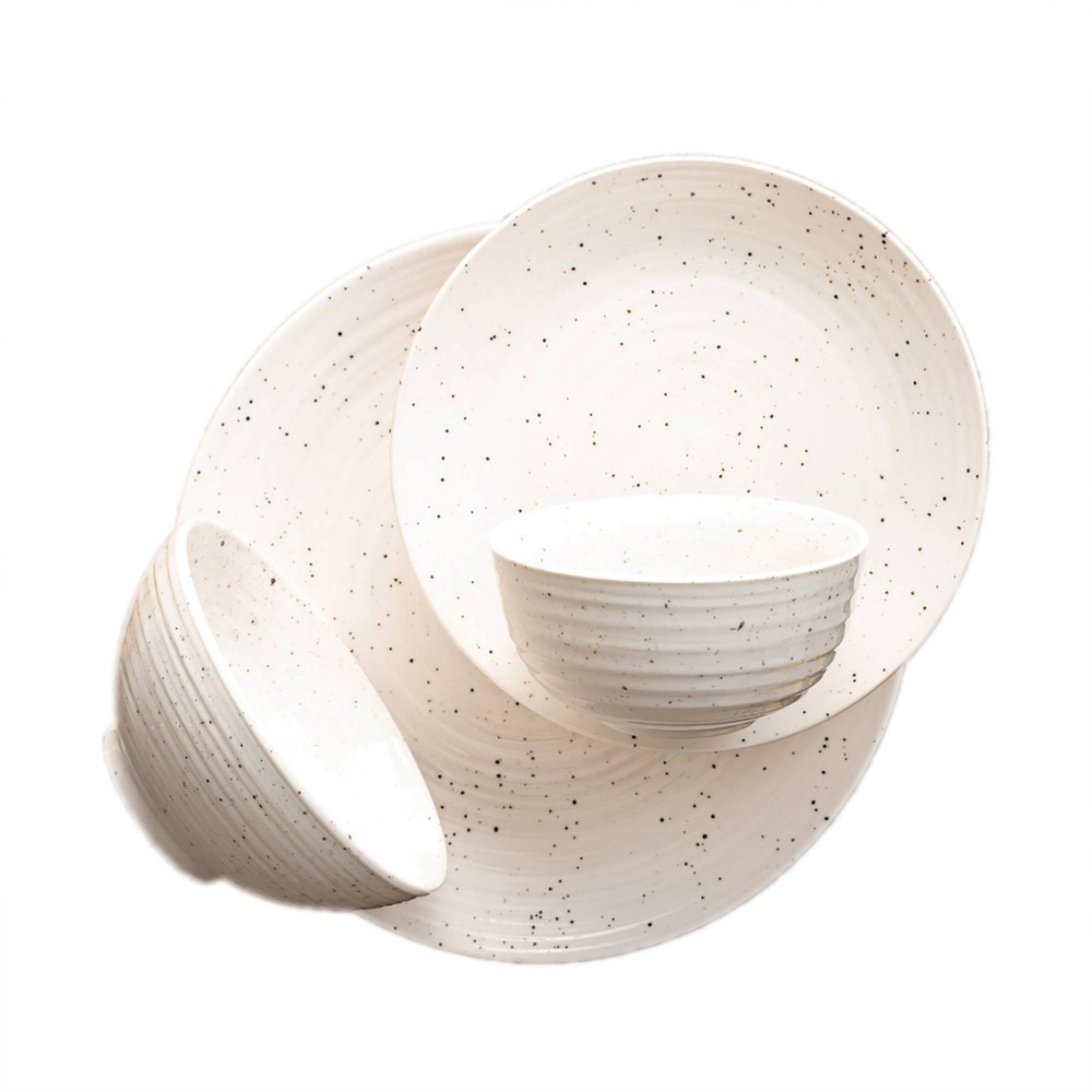 Image of 16pc Stoneware Siterra Dinnerware Set White - Sango