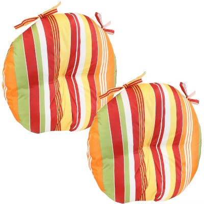 """Sunnydaze Indoor/Outdoor Polyester Replacement Round Bistro Chair Seat Cushions - 15"""" - Sherbert Stripes - 2pc"""