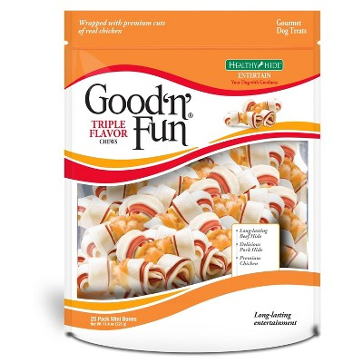 Good 'n' Fun Triple Flavor Mini Bone Rawhide Dog Treats - 25ct