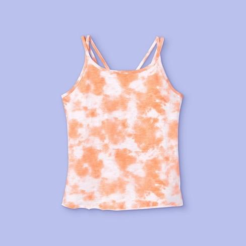 Girls' Tie-Dye Tank Top - More Than Magic™ Orange - image 1 of 2