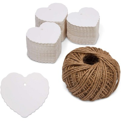 Bright Creations 300 Pack Heart Shaped Paper Gift Tags with String, White (2.3 x 2.2 in)