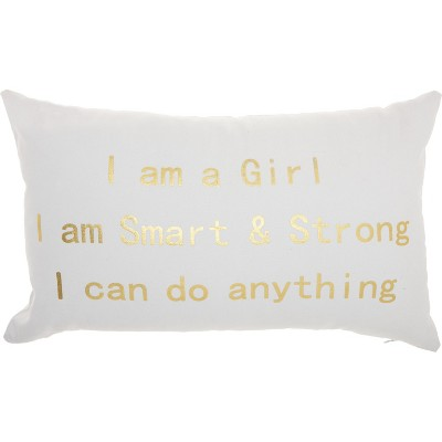 """Nourison Trendy, Hip, New-Age """"I am a girl I am strong"""" Rose Throw Pillow"""