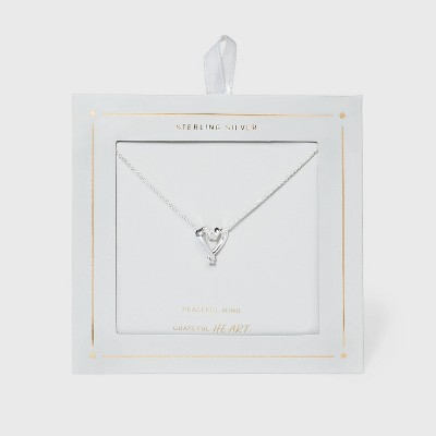 Sterling Silver Open Heart Necklace - Silver