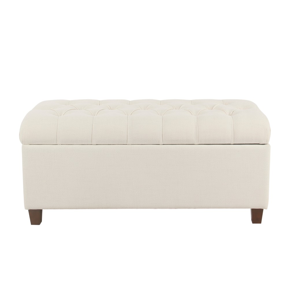 Image of Ainsley Button Tufted Storage Bench Cream - Homepop, Ivory