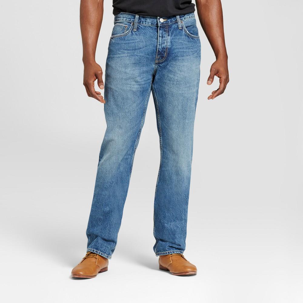Men's Tall Slim Straight Fit Selvedge Denim Jeans - Goodfellow & Co Blue 30x36