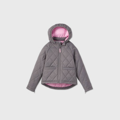 Girls' Adaptive Quilted Jacket - Cat & Jack™ Gray