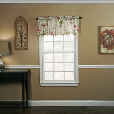"""Ellis Curtain Balmoral High Quality Room Darkening Solid Natural Color floral print fabric Window Valance - (48""""x15"""")"""