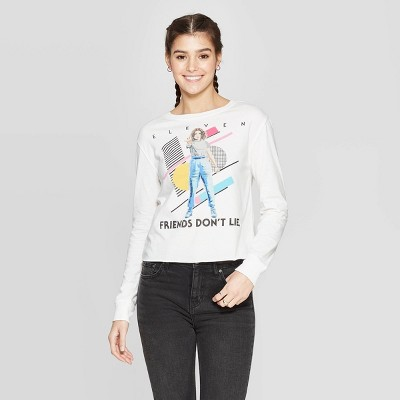Women's Stranger Things Eleven, Friends Don't Lie Long Sleeve Cropped T Shirt (Juniors')   White by Shirt (Juniors')