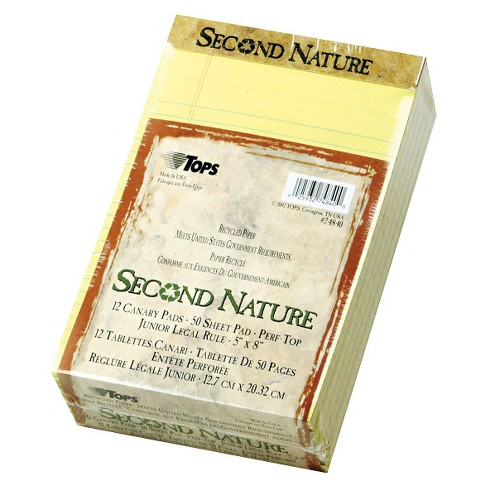 TOPS® 5 x 8 Second Nature Recycled Pad, Jr. Legal, Letter- Canary (50-Sheet, 12 per Pack) - image 1 of 1