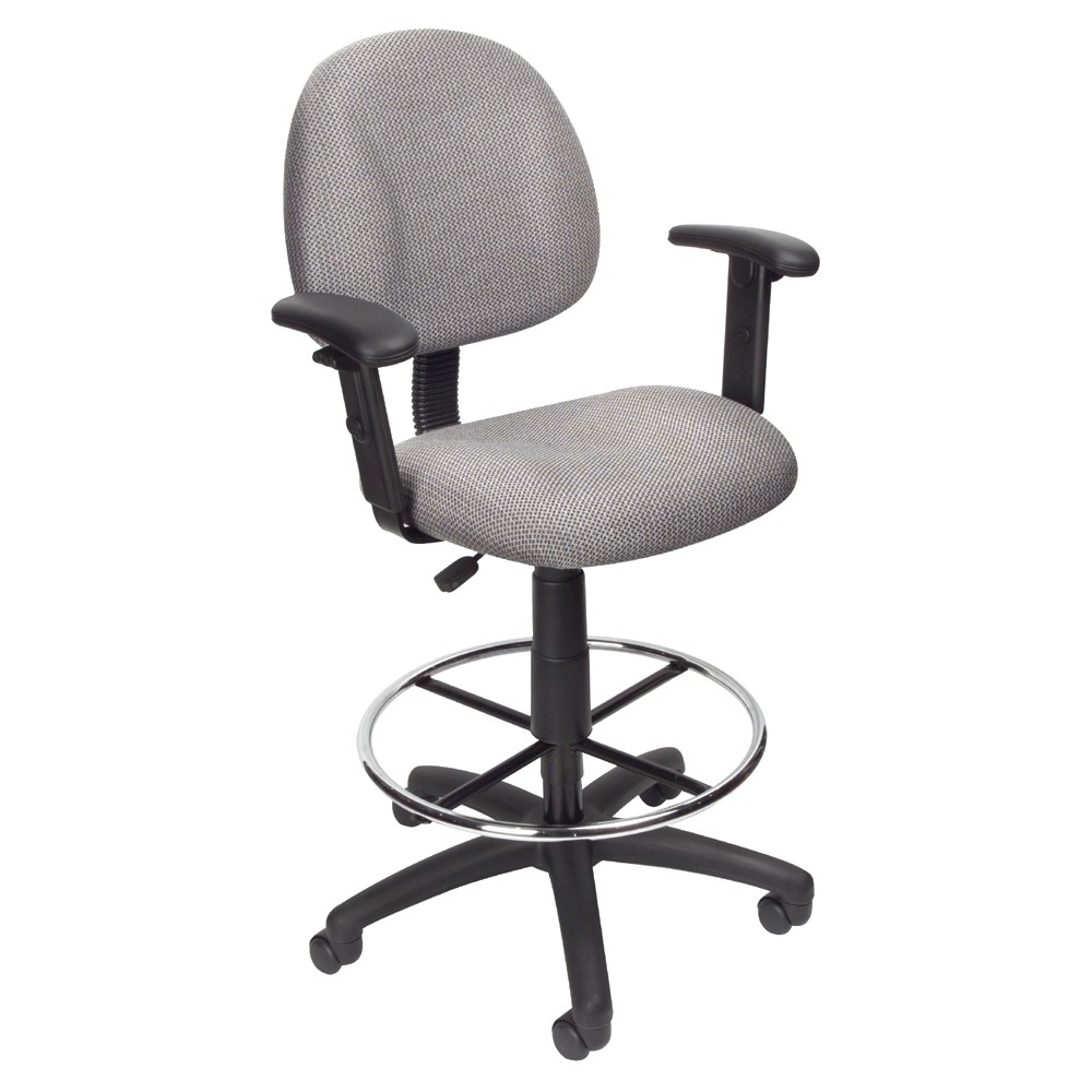 Drafting Stool with Footring And Adjustable Arms Gray - Boss Office Products