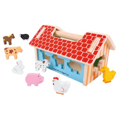 Bigjigs Toys Farmhouse Sorter Wooden Developmental Toy