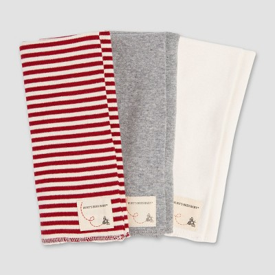 Burt's Bees Baby Organic Cotton 3pk Burp Cloths - Red/Heather Gray/White