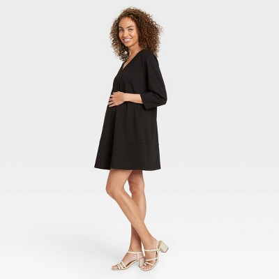 The Nines by HATCH™ 3/4 Sleeve Fit & Flare Ponte Maternity Dress Black