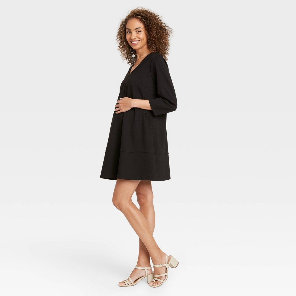 The Nines By Hatch 8482 3 4 Sleeve Fit 38 Flare Ponte Maternity Dress Black L