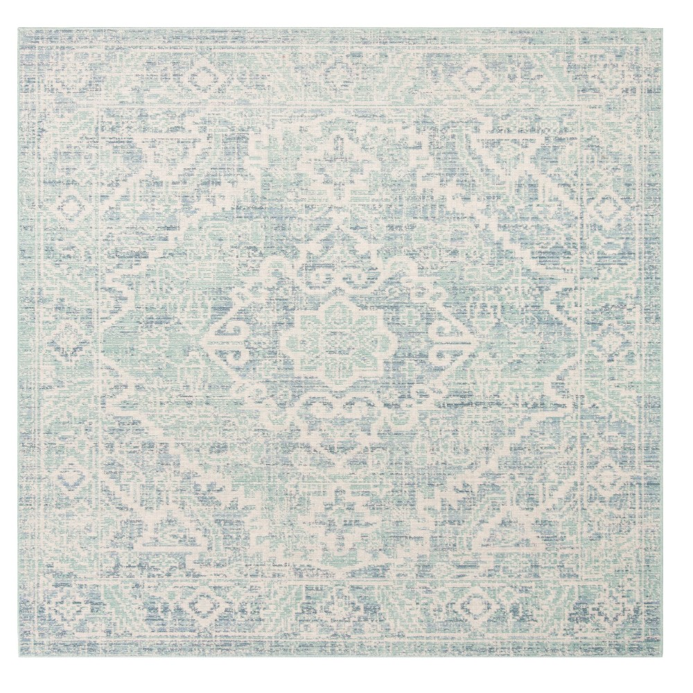 Blue Medallion Loomed Square Area Rug 6'X6' - Safavieh, Blue Green