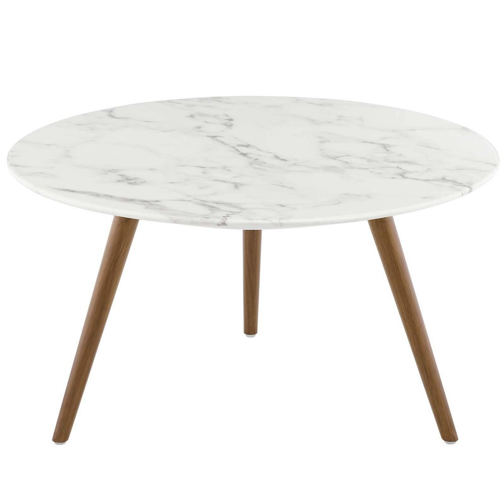 "Image of ""28"""" Lippa Round Artificial Marble Coffee Table with Tripod Base Walnut/White - Modway"""