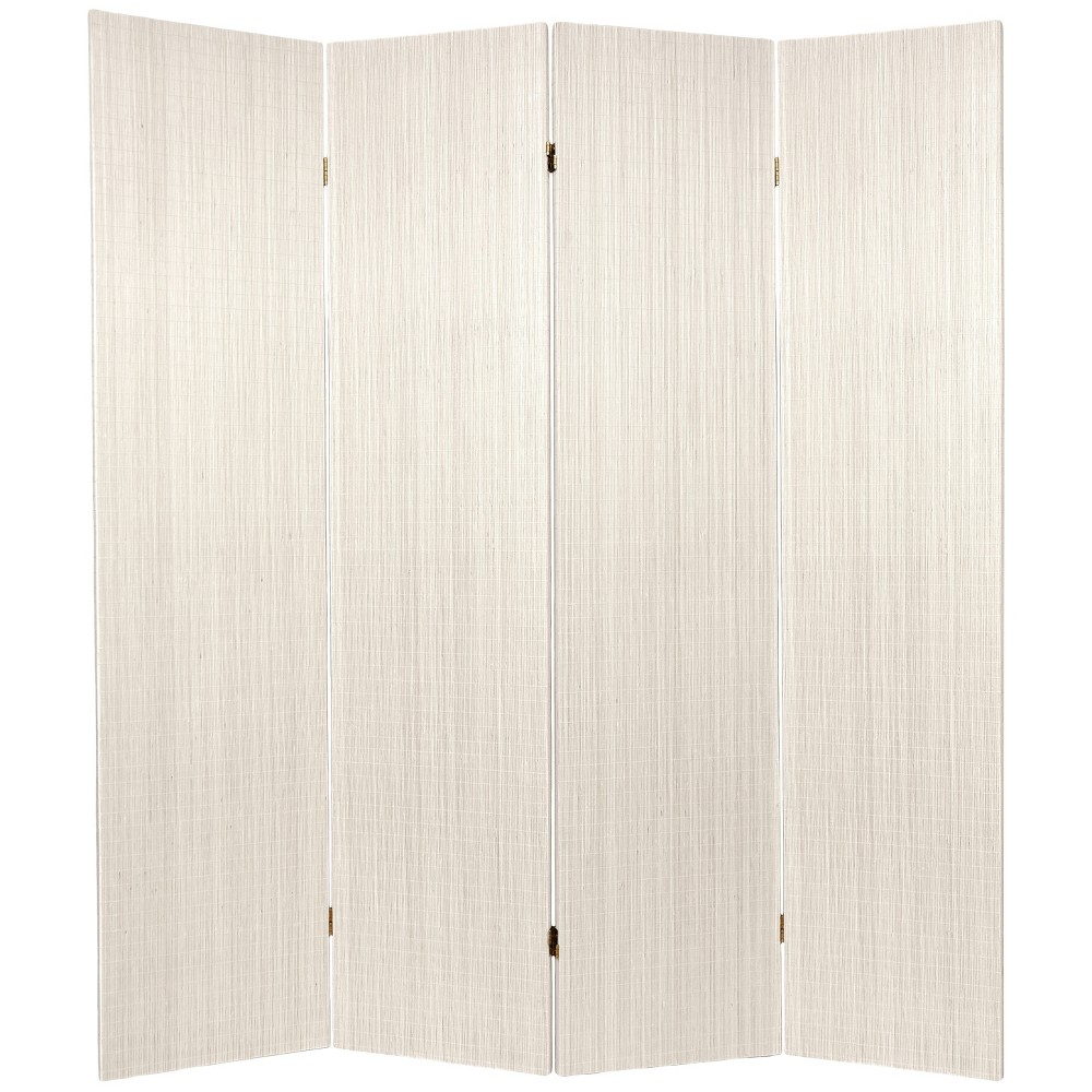 Oriental Furniture 6' Tall Frameless Bamboo Room Divider 4 Panels White