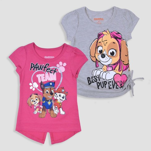 Toddler Girls' 2pk PAW Patrol Short Sleeve T-Shirt - Pink - image 1 of 3