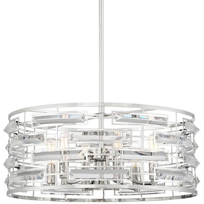 """Possini Euro Design Polished Nickel Pendant Chandelier 20"""" Wide Modern Clear Crystal 6-Light Fixture Dining Room House Foyer"""