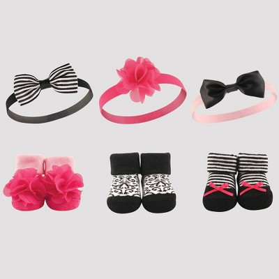 Hudson Baby Girls' 6pk Headband & Socks Set - Black 0-6M