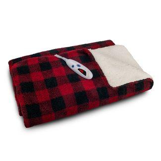 "62"" x 50"" Electric Sherpa Throw Red Buffalo Check - Biddeford Blankets"