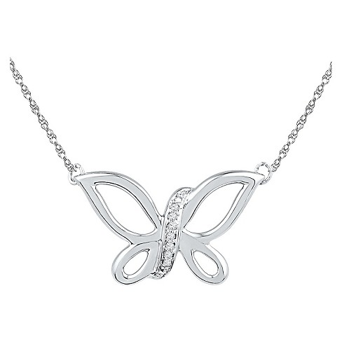 "Women's Diamond Accent Prong Set Butterfly Necklace in Sterling Silver (IJ-I2-I3) (18"") - image 1 of 1"
