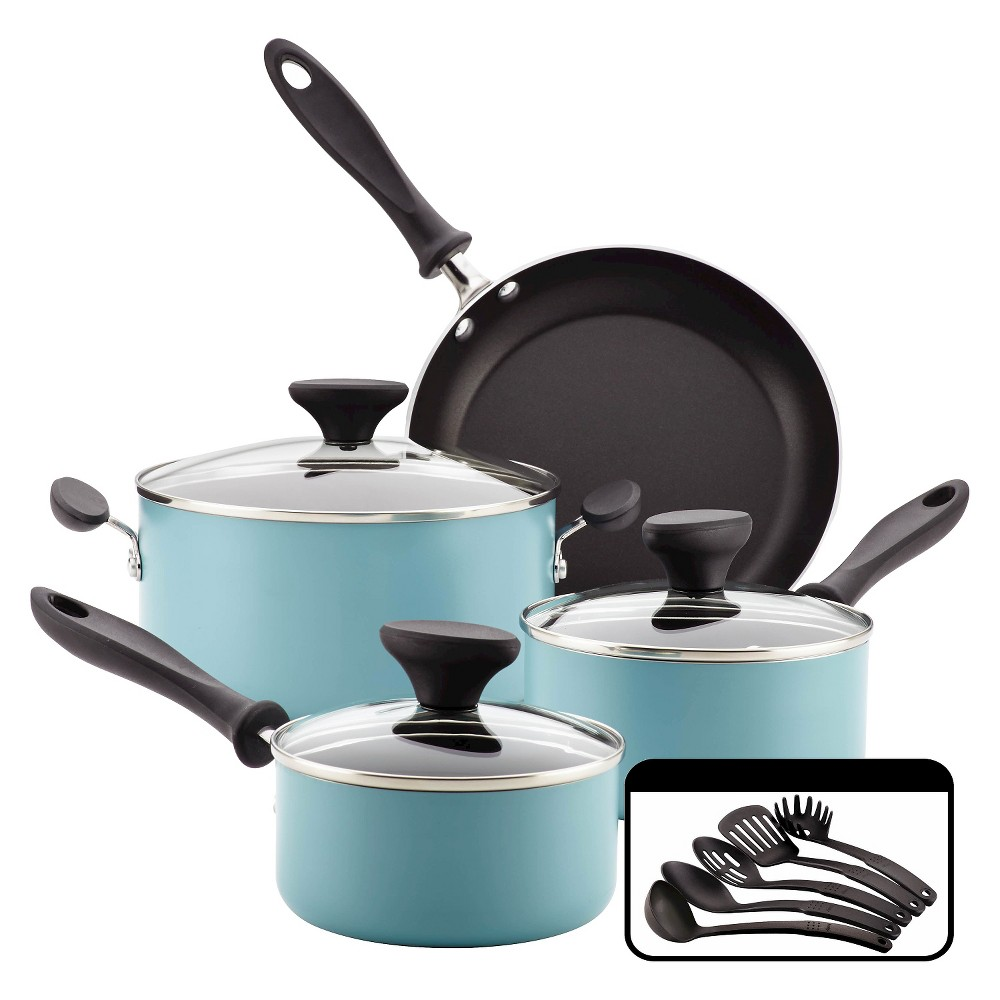 Farberware Reliance 12pc Aluminum Nonstick Cookware Set Aqua (Blue)