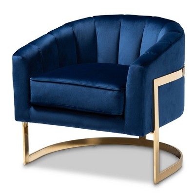 Tomasso Velvet Lounge Chair Blue - Baxton Studio