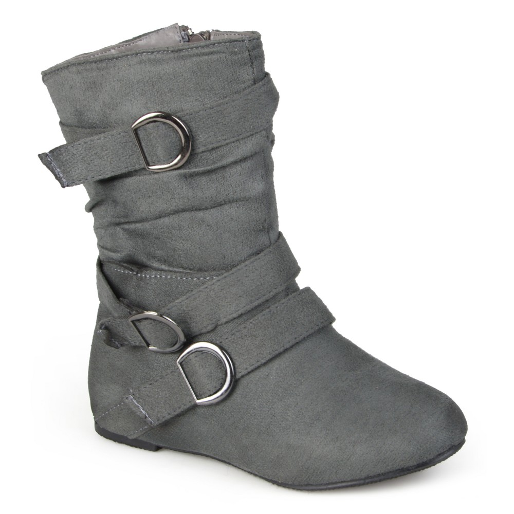 Girls' Journee Collection Buckle Suede Boots - Gray 10